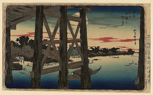 Moon viewings often took place on boats in order to get an ideal view of the moon's reflection on the water during Tsukimi festivities.