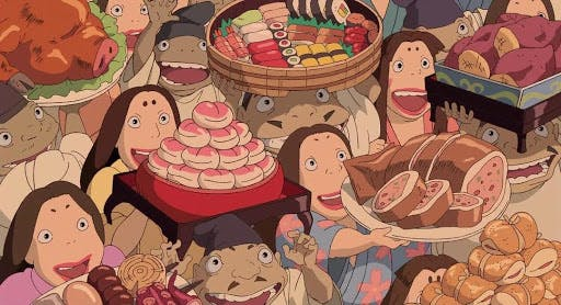 A variety of Japanese snacks are depicted in Spirited Away