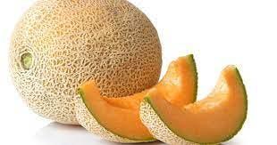 3 slice of Sembikiya Muskmelon, with bright orange flesh.