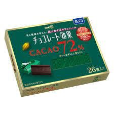 A box of Chocolate Effect Japanese dark chocolate that contains 72% cacao.