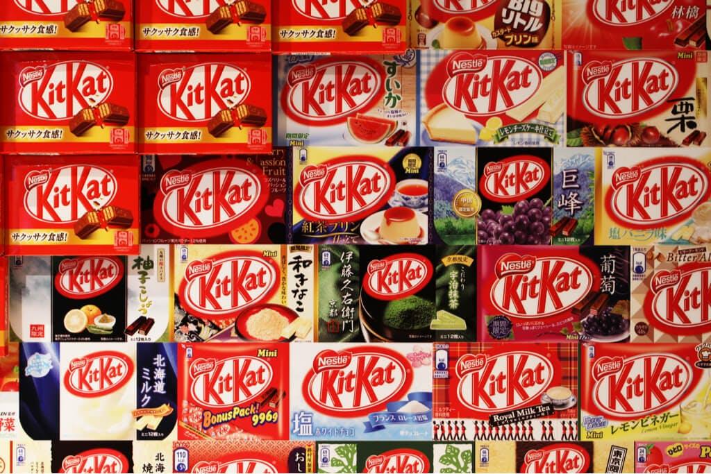 A wall full of Japanese kit kats