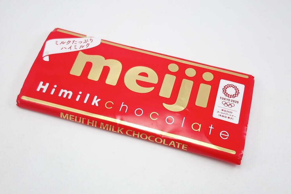 A bar of Meiji's Himilk chocolate on a white background