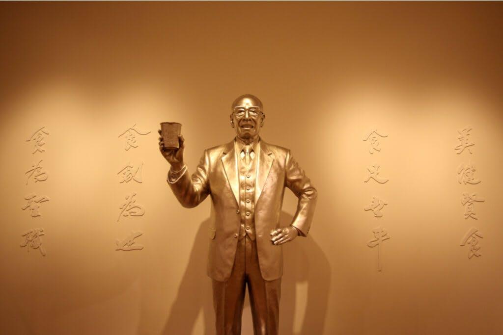 A golden statue of Momofuku Ando at the Yokohama Ramen museum