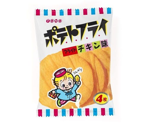 Potato Fry is a Japanese snack, or dagashi. Made of rice flour, it resembles a giant potato chip!