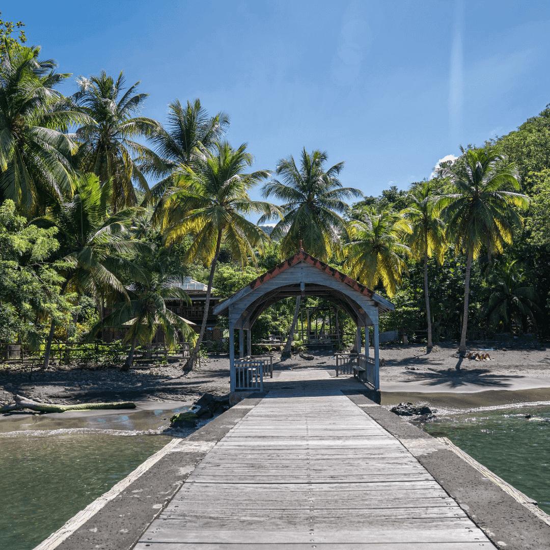 Le ponton de la plage d'Anse Noire