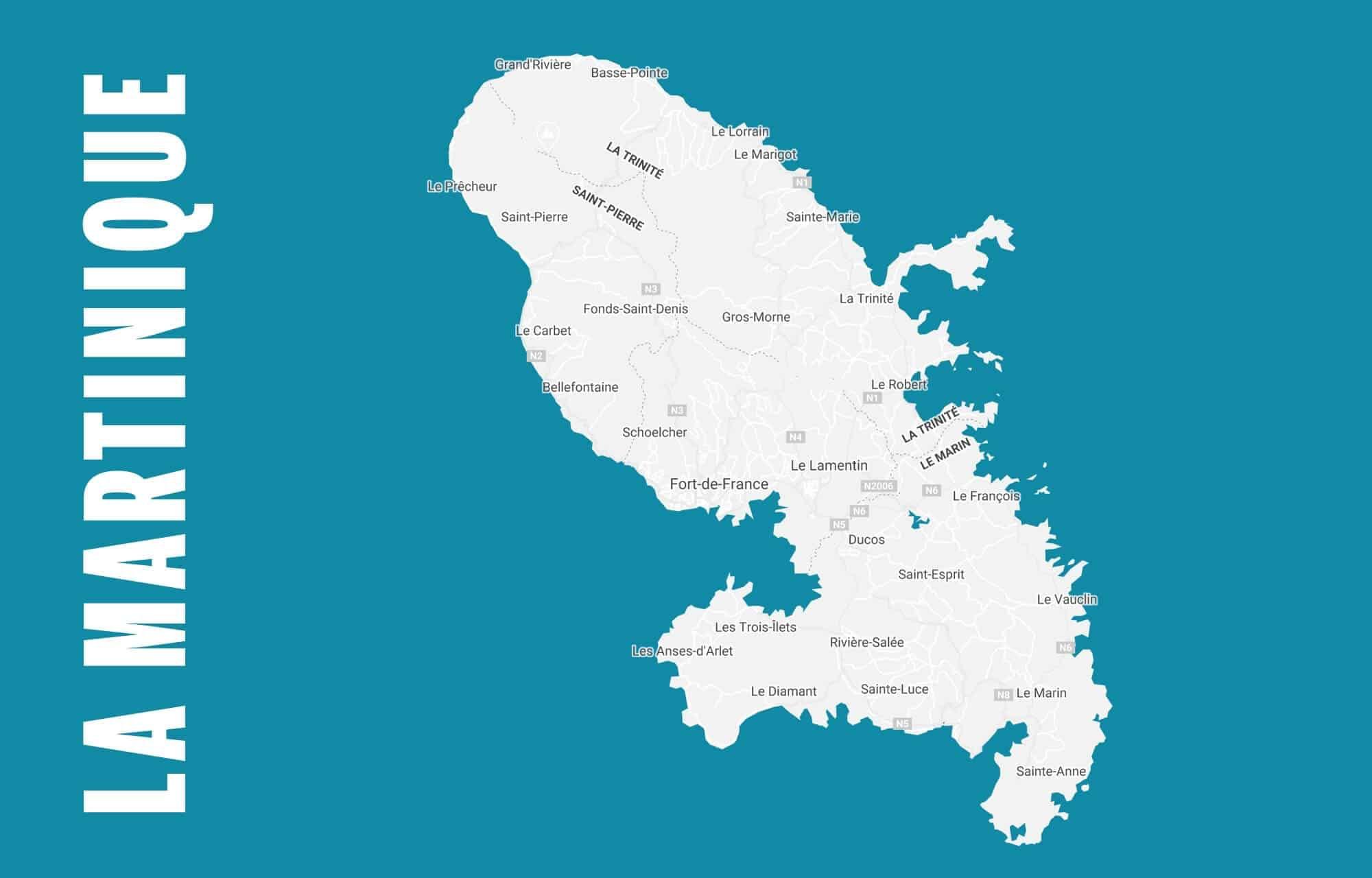 La carte de la Martinique