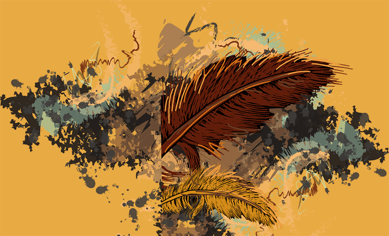 illustration with feather on yellow background