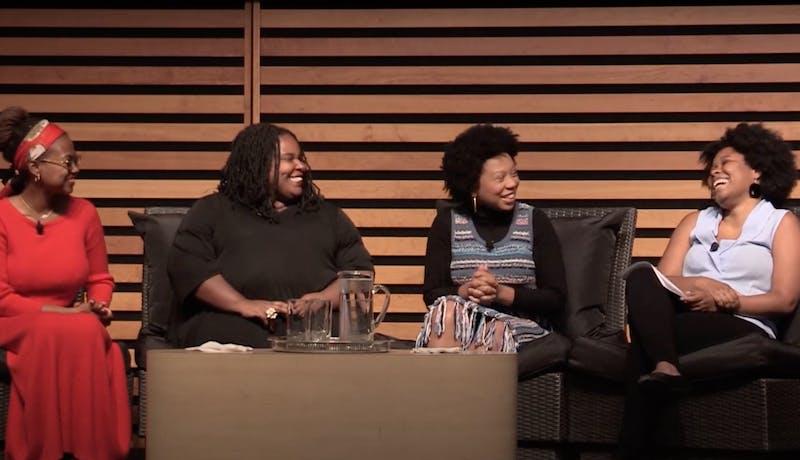 Writers Glory Edim, Jamia Wilson and Renée Watson, moderated by Zalika Reid-Benta