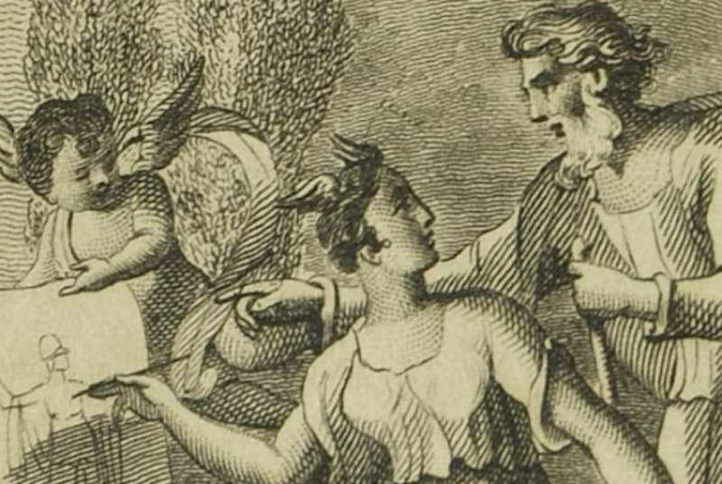 Illustration of woman drawing alongside man on piece of paper held by winged boy