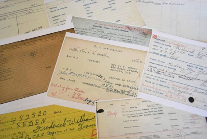 Scattered printouts of historical documents