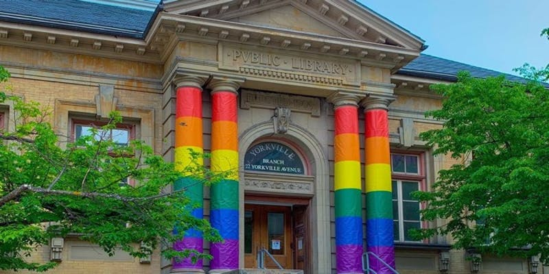 Yorkville Branch with pride pillars