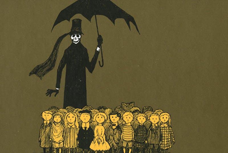 Illustration of skeleton with umbrella over children