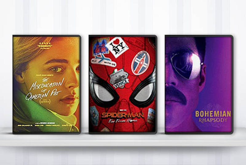 DVD covers: Miseducation of Cameron Post, Spiderman Far From Home, Bohemian Rhapsody