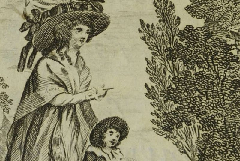Illustration of woman pointing towards a plant with young boy