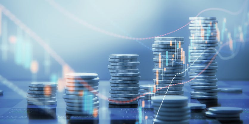 Image shows piles of coins increasing in height going from left to right