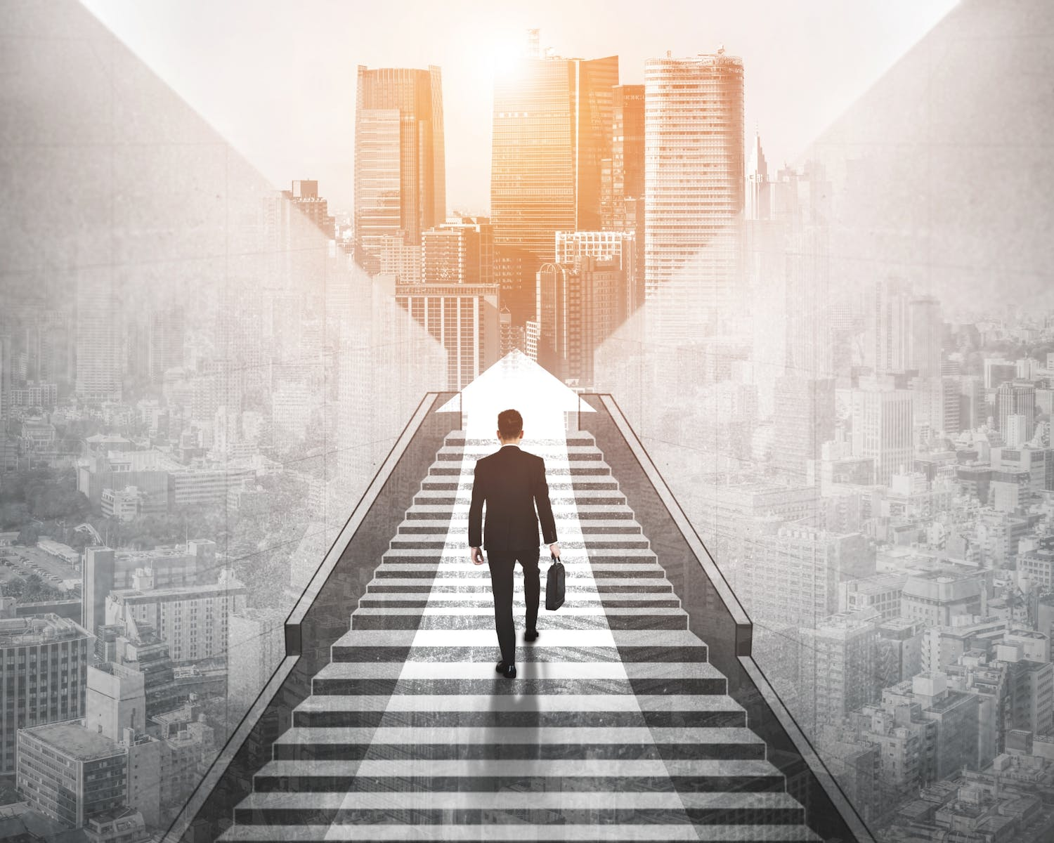 A futuristic graphic showing a businessman walking up a set of stairs towards some skyscrapers.