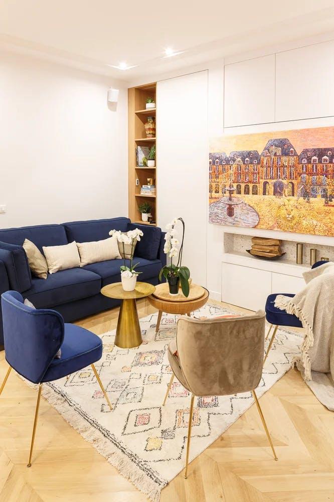 Rénovation archi salon ambiance dorée