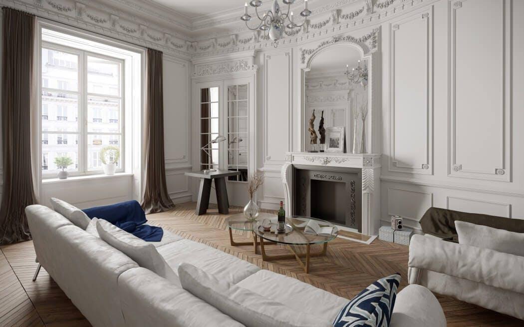 Intérieur d'un appartement Paris 16e rénové
