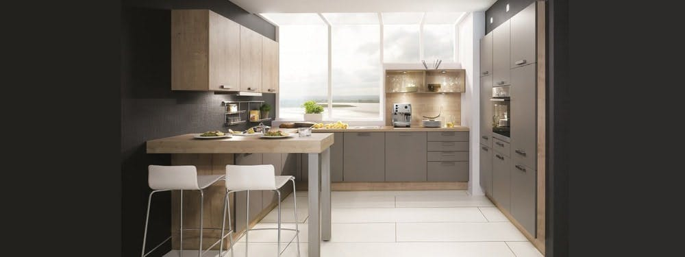 cuisine Aviva bi-colore aux teintes grises et bois
