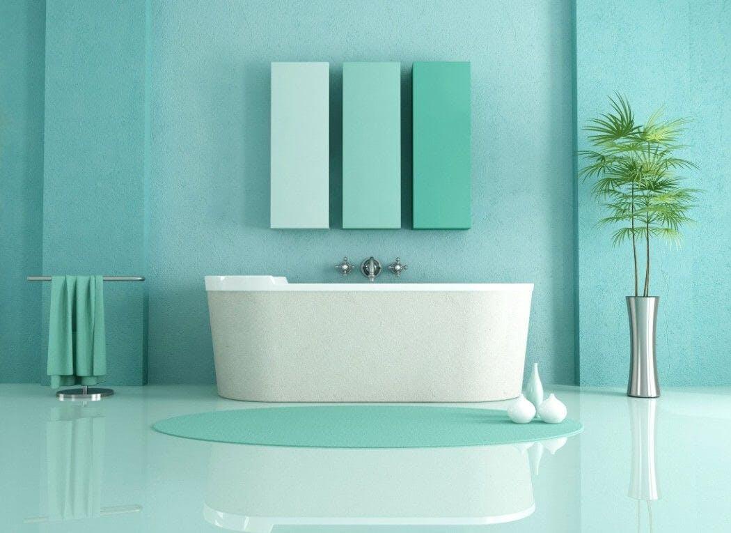 Déco de salle de bain verte
