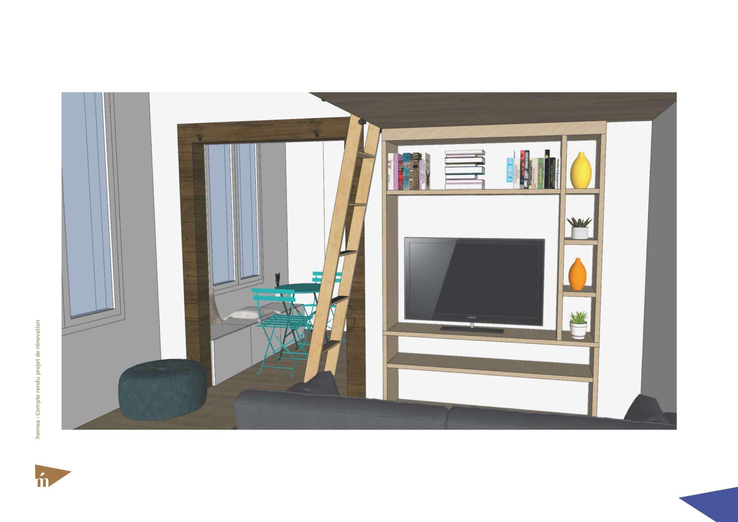 Plan 3D du coin canapé lit