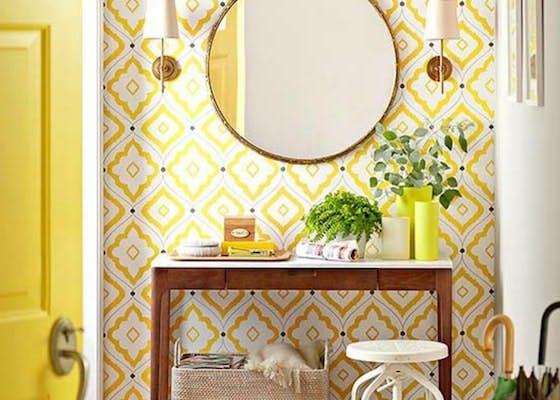 papier peint jaune geometrique design