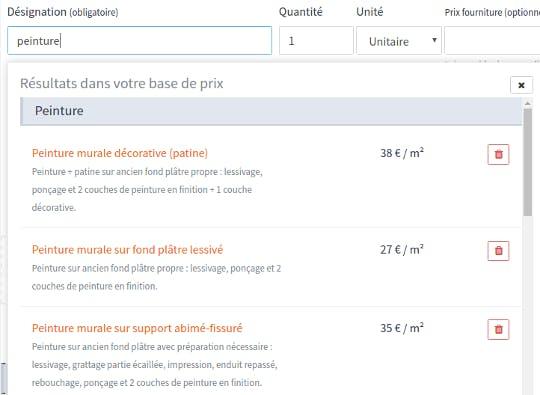 Base de prix logiciel de devis