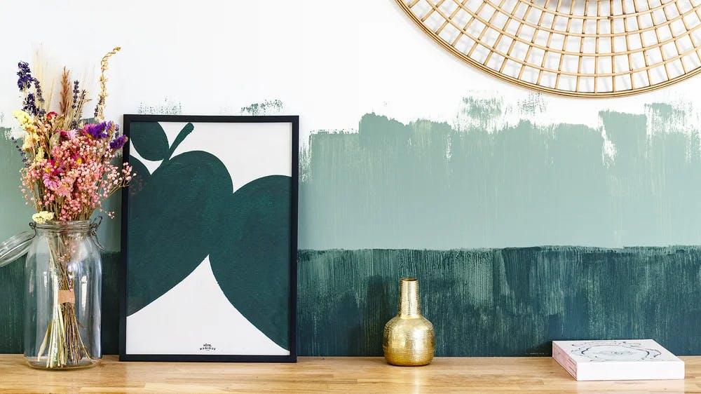Peinture bicolore vert dégradé