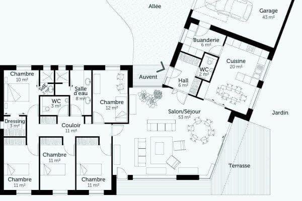 Plan d'une maison d'architecte de plain pied