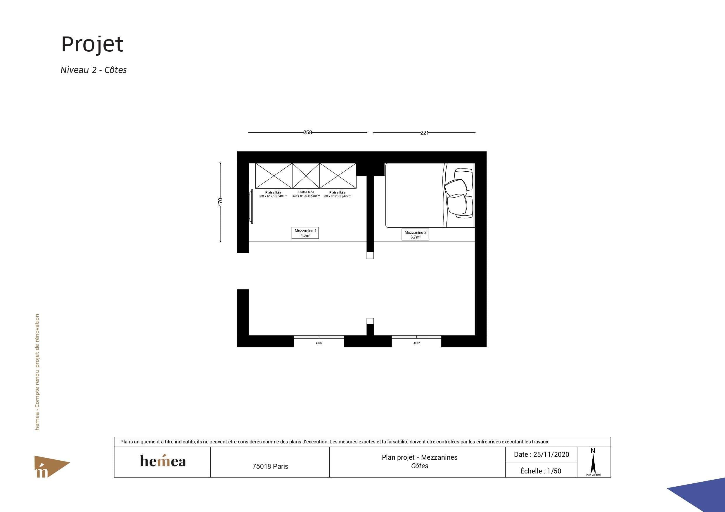 Plan niveau 2 côtes Rénovation studio de 18 m²