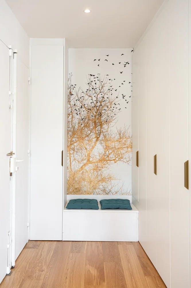 Papier peint décoration murale golden birds entrée