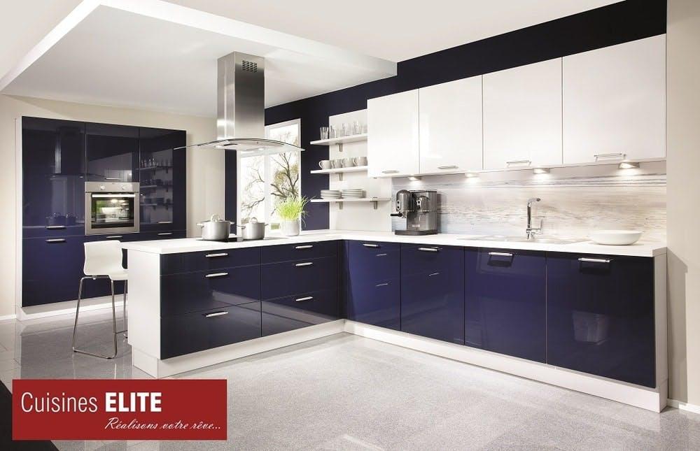 cuisine élite bleu brillant laqué stratifié
