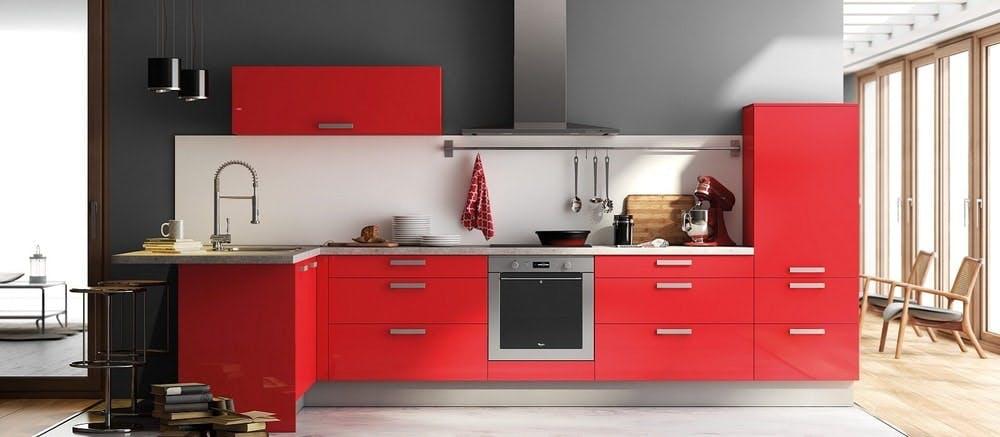 cuisine Aviva rouge haute brillance