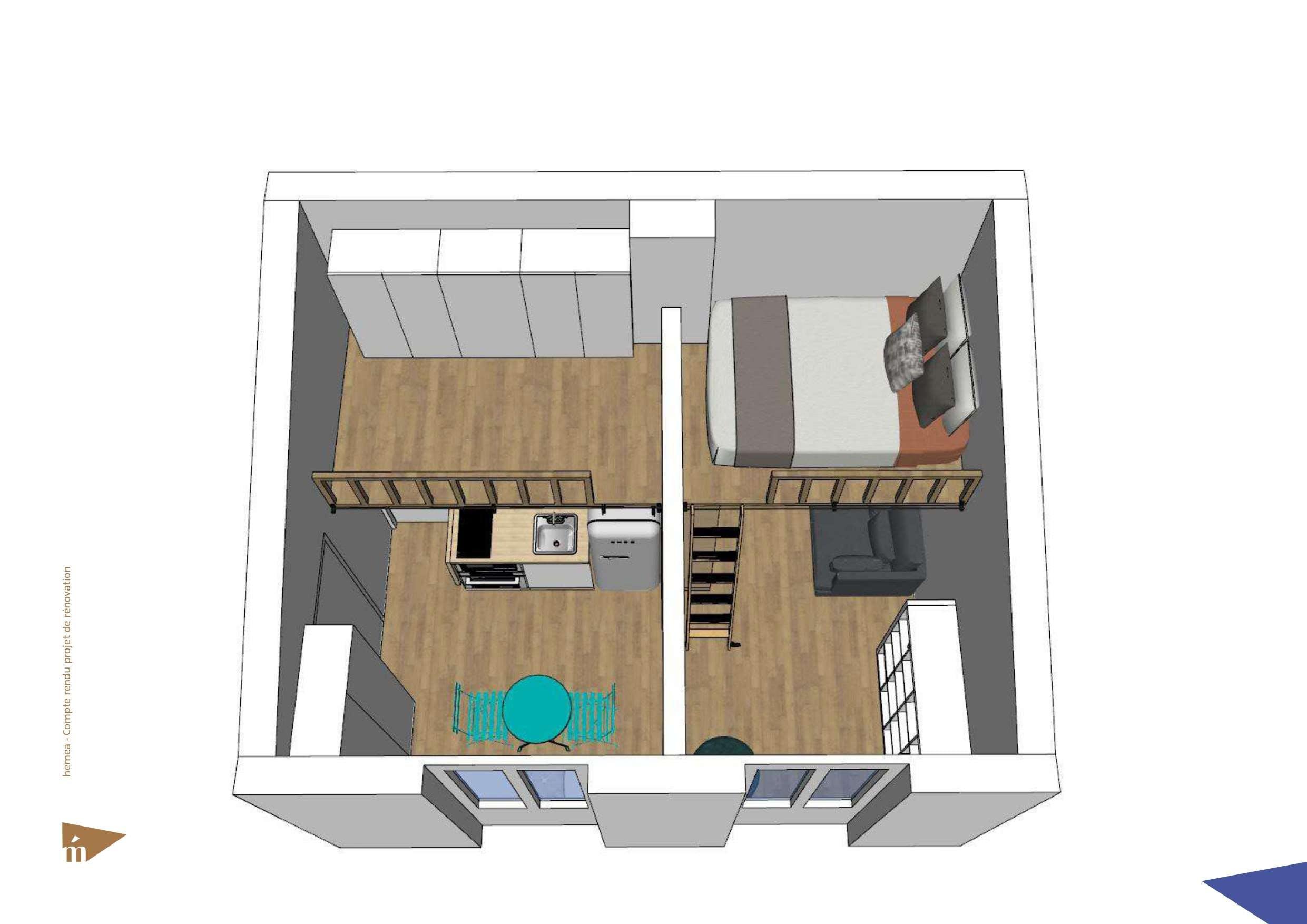 Plan 3D du studio vue d'en haut + niveau 2 mezzanine