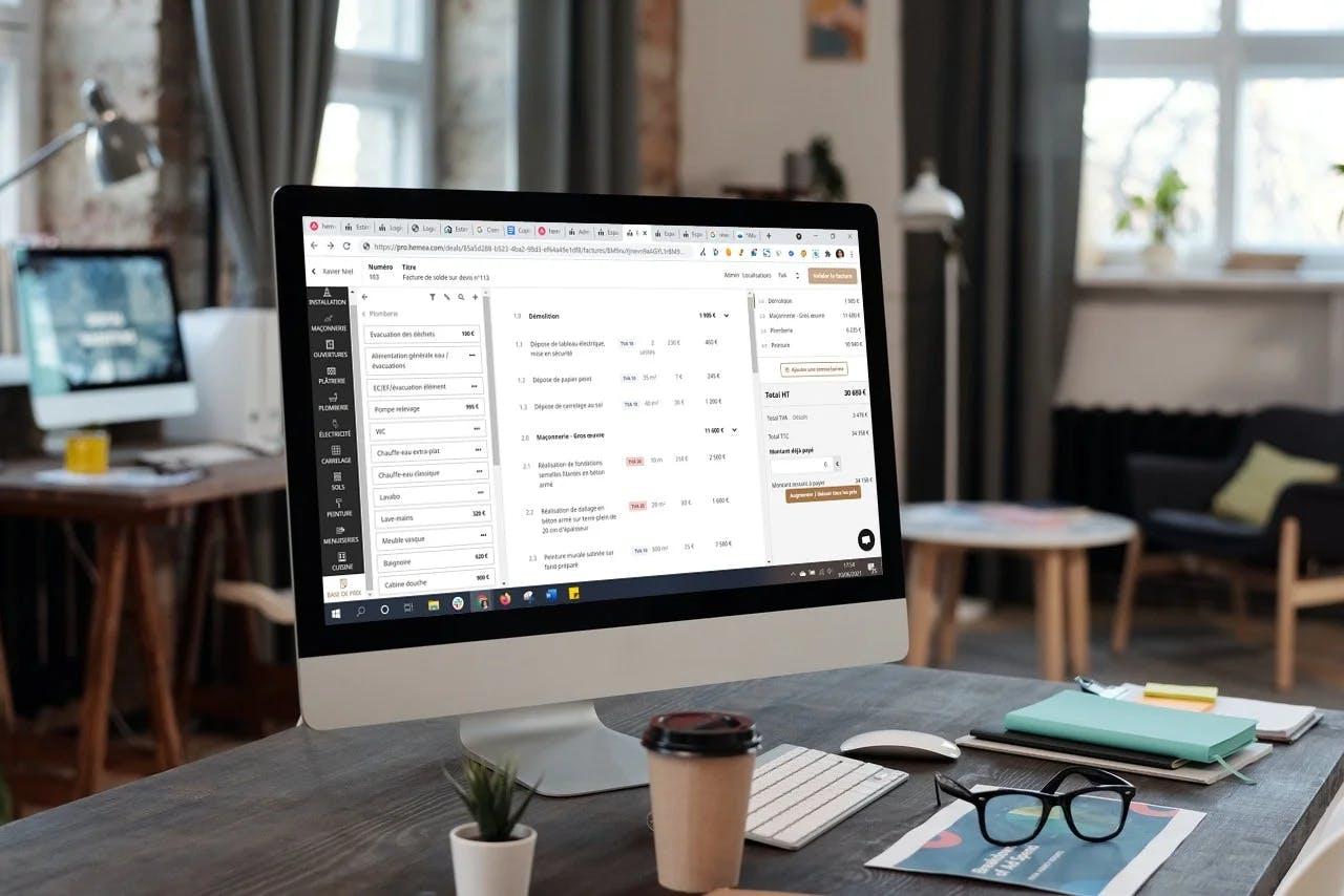 logiciel facturation hemea sur écran d'ordinateur