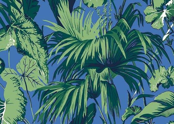 papier peint palm bleu vert
