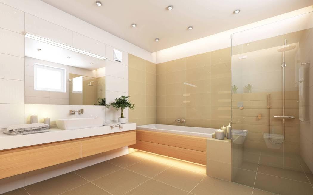 Idée de carrelage mural aux tons naturels pour salle de bain