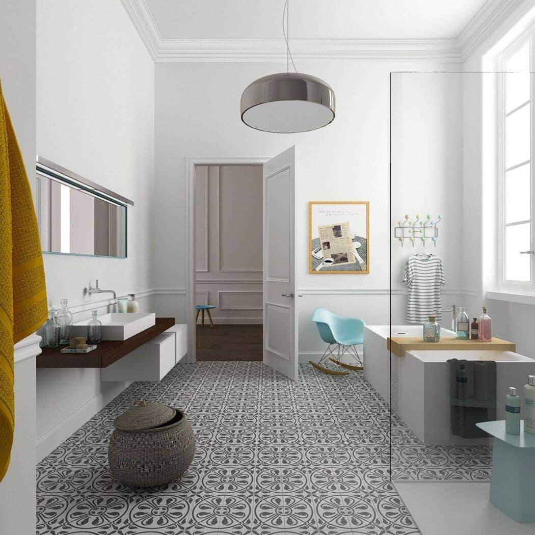 Carreaux de ciment dans une salle de bain