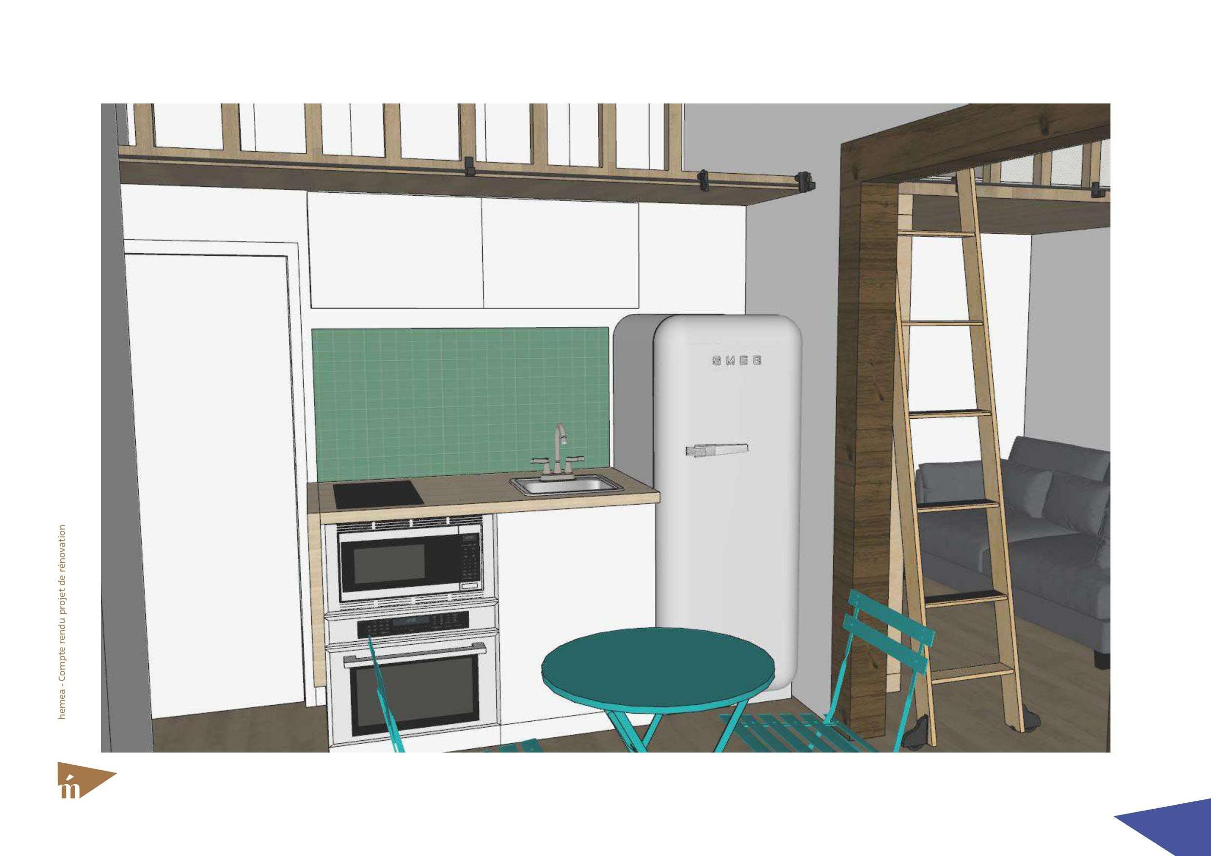 plan 3D cuisine et coin repas
