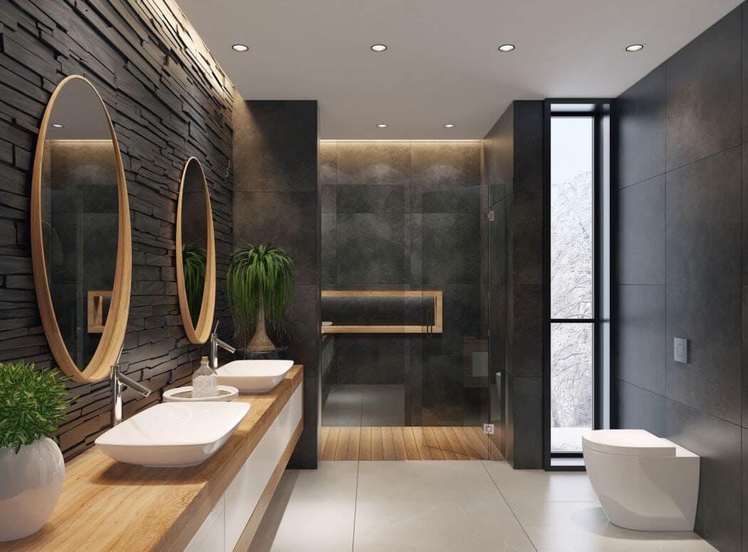 Salle de bain noire au style contemporain
