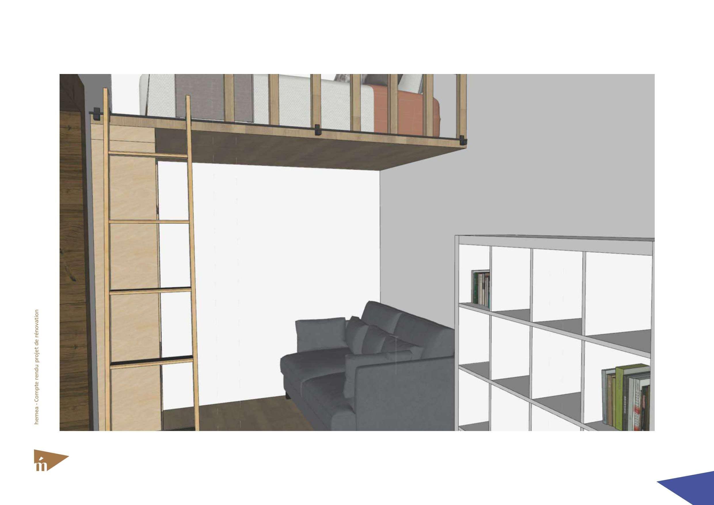 plan 3D coin canapé lit et mezzanine