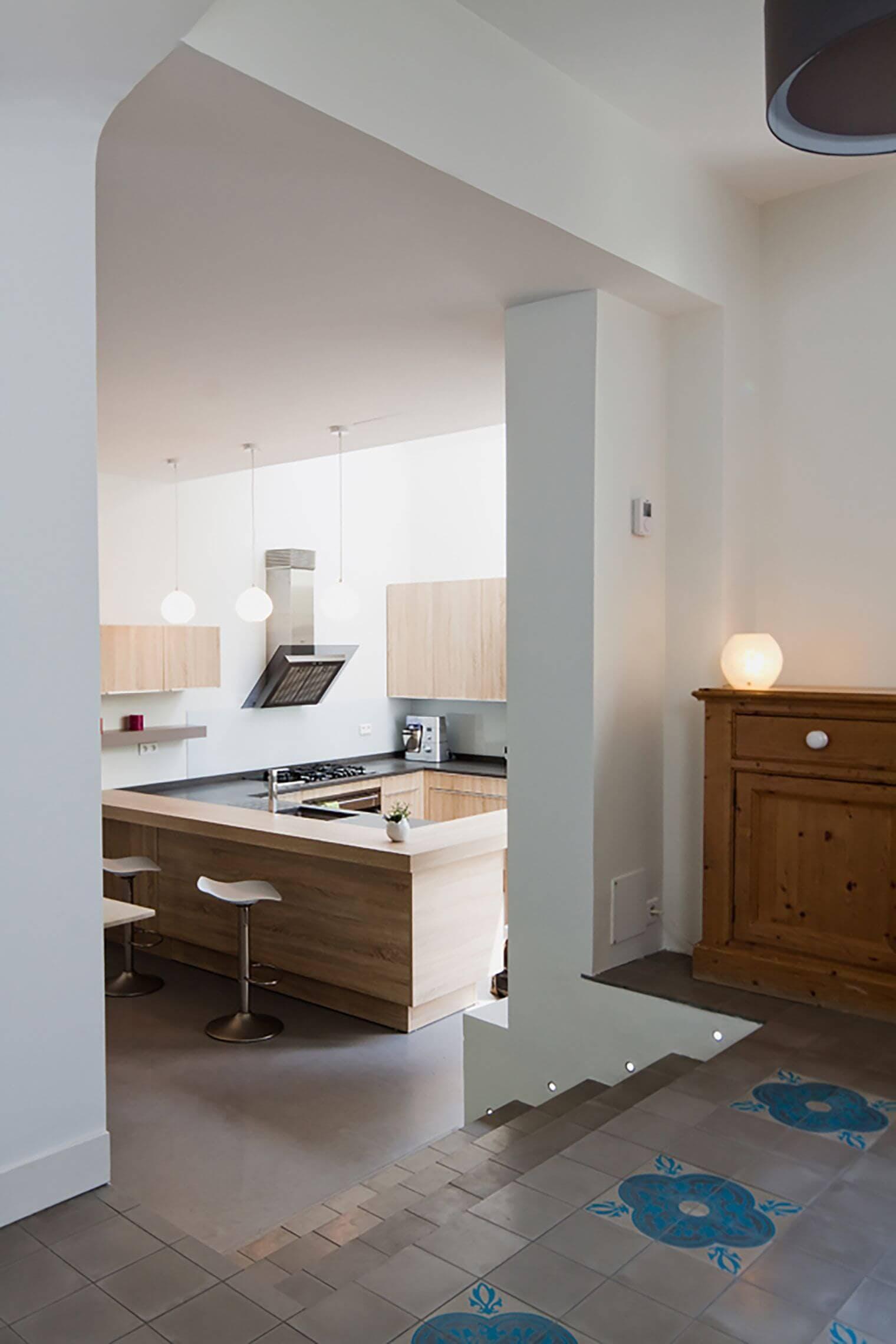 Extension verrière d'une maison familiale - Accès cuisine