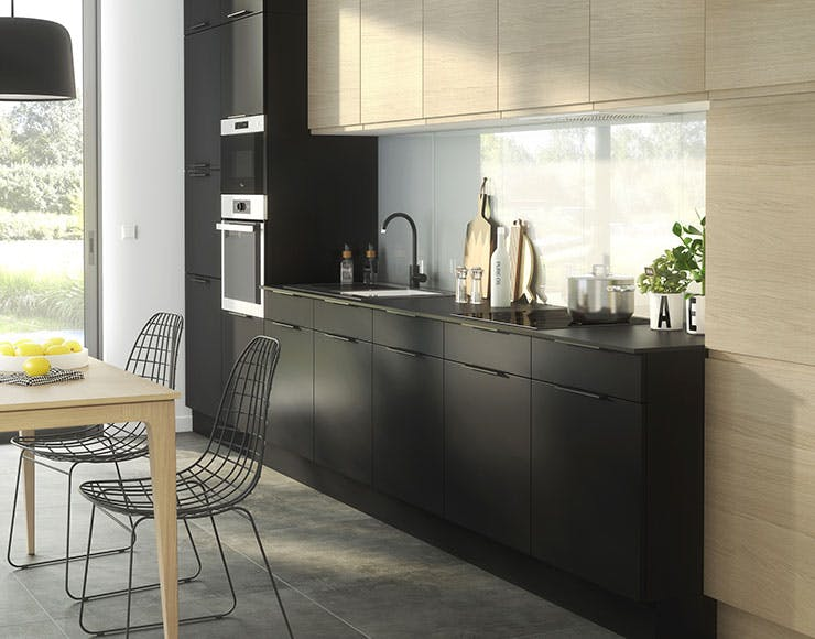 cuisine castorama couleur noir avec plan de travail stratifié