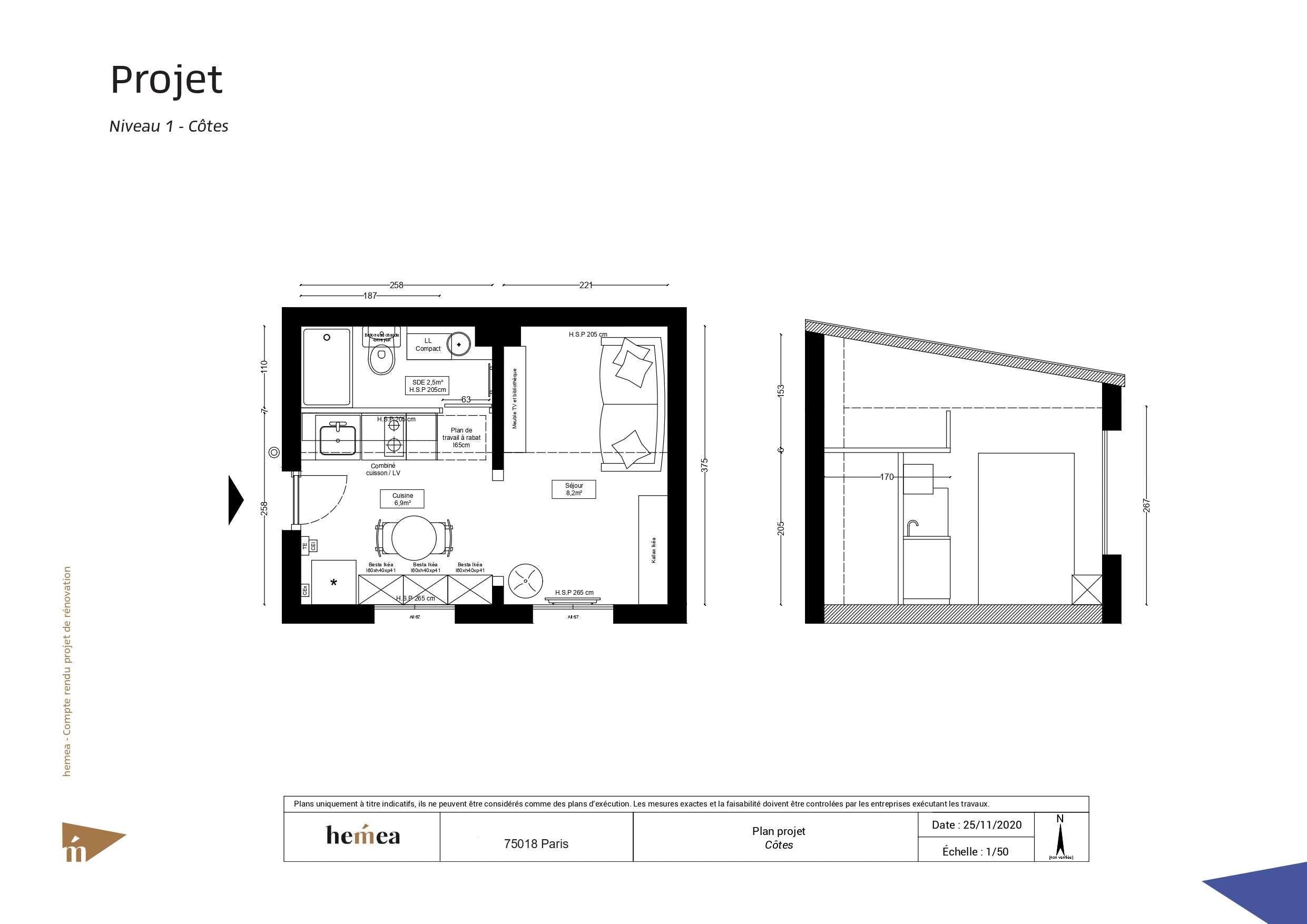 Plan niveau 1 côtes Rénovation studio de 18 m² Paris 18