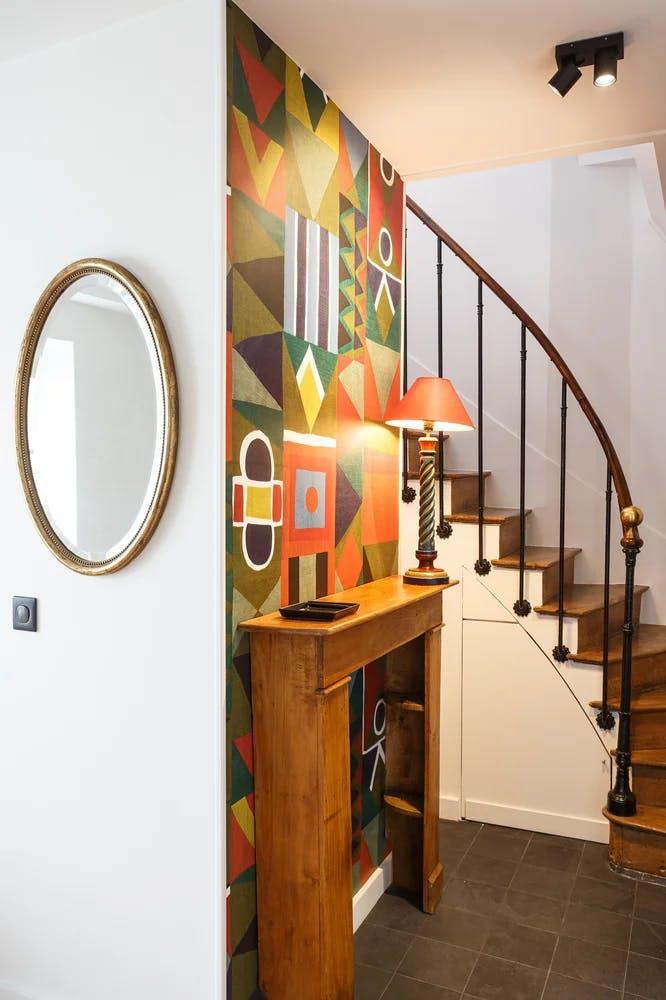 Vue escalier Vue rez-de-chaussée d'un appartement de 65 m² rénové
