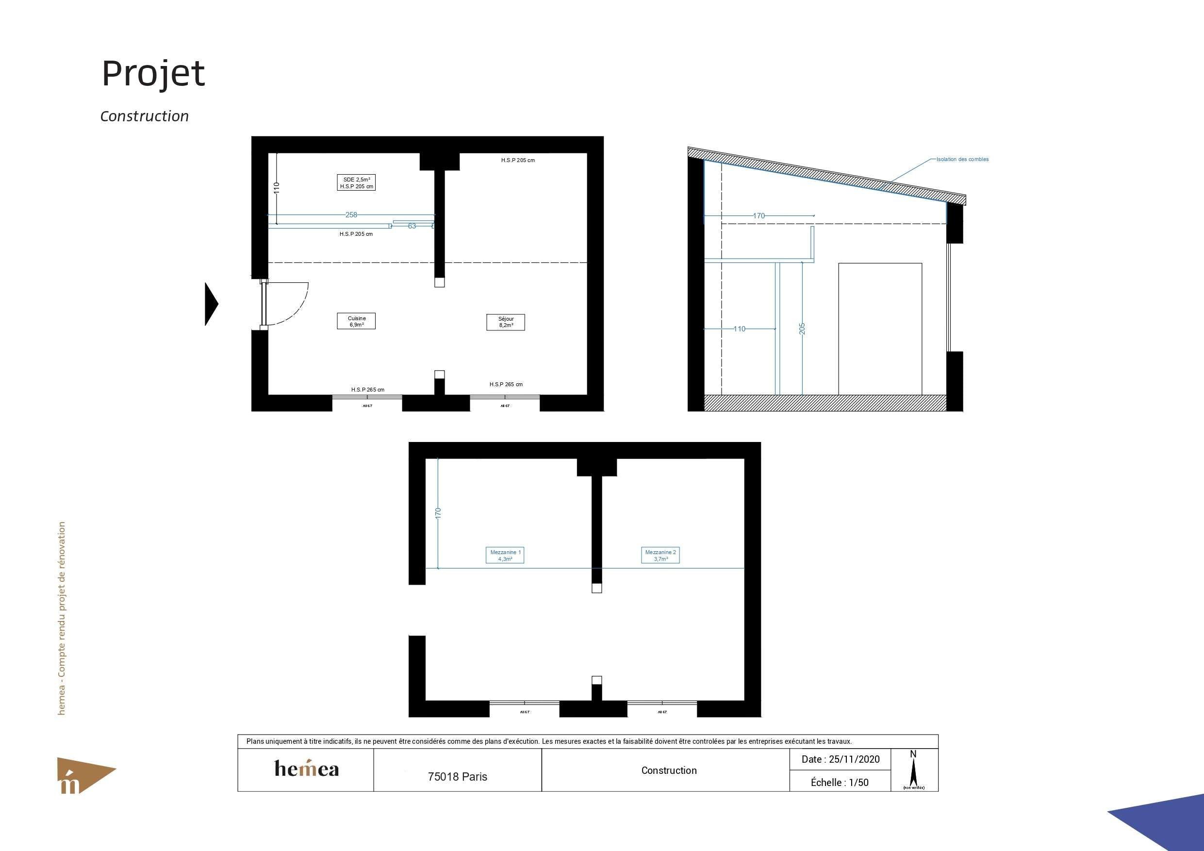 Plan construction Rénovation studio de 18 m²