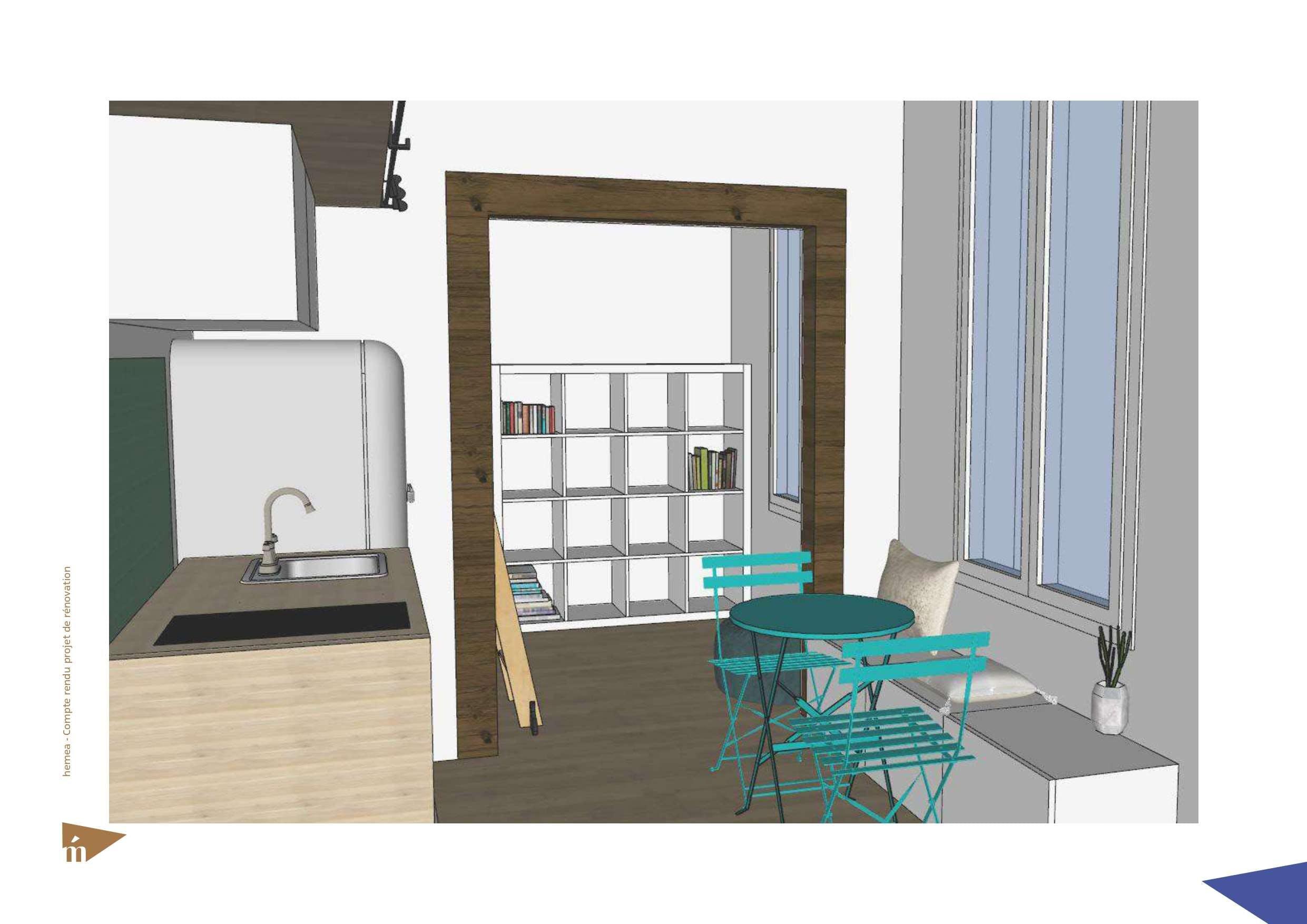 plan 3D du studio vue angle cuisine et coin repas