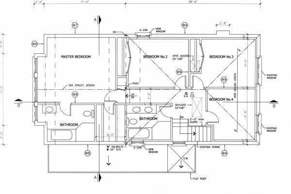 Plan d'une maison d'architecte à étage
