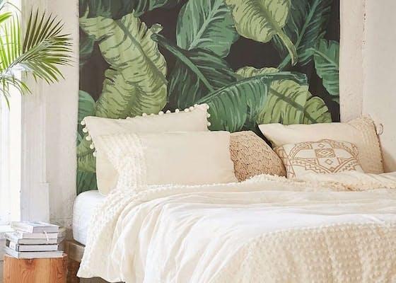 papier peint palmier tete de lit