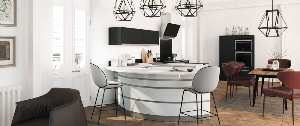 cuisine design Morel - rond, contemporaine, laque blanc brillant